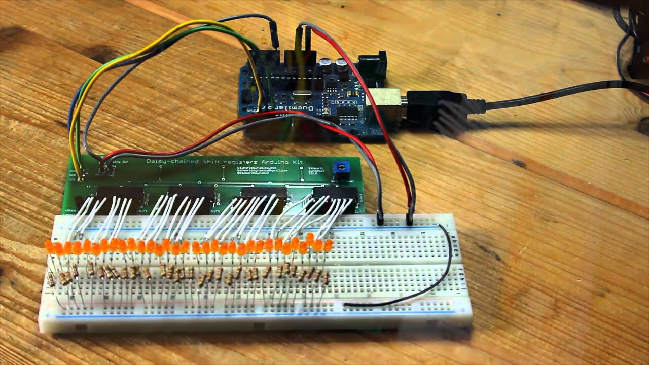Daisychained shift registers arduino kit example youtube