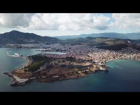 Mitilini Lesvos Island Castle-Port View from the sky