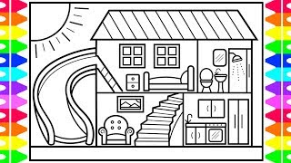 How to Draw a House with a Fun Slide for Kids 💚💜💙 House Drawing and Coloring Pages for Kids