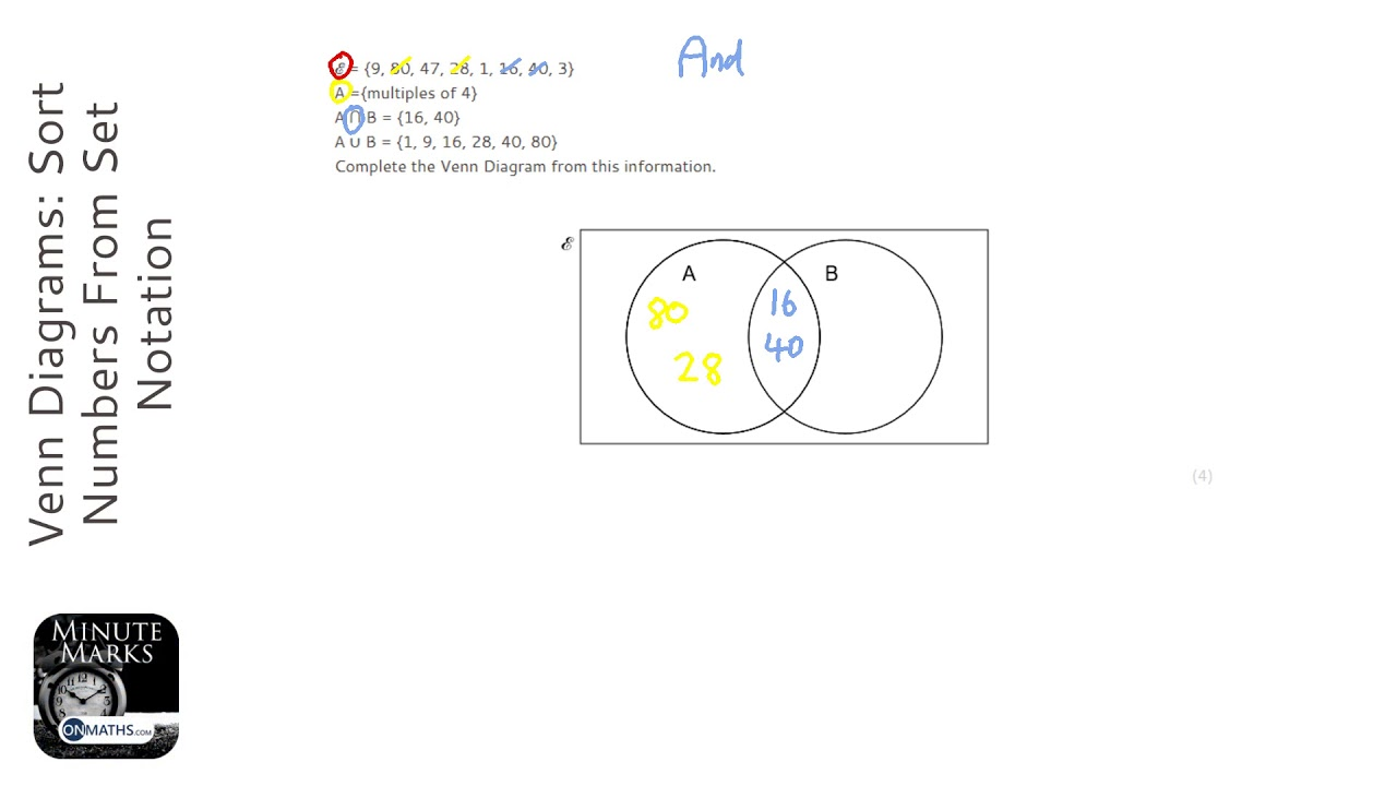 Venn Diagrams: Sort Numbers From Set Notation (Grade 5