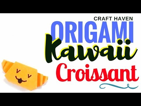 Kawaii Origami Croissant - Cutest Paper Croissant or Crescent Bread Roll - Easy Origami Tutorial