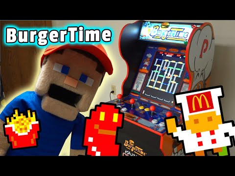 The BURGERTIME Classic Arcade Game Arcade1up Cabinet Unboxing from Puppet Steve
