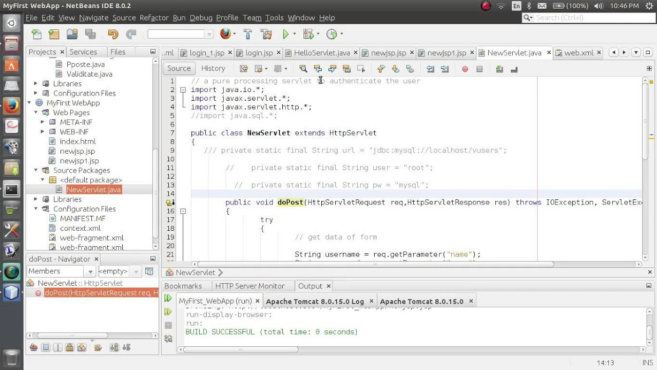 JSP Servlet Full Login Example on NetBeans Ubuntu