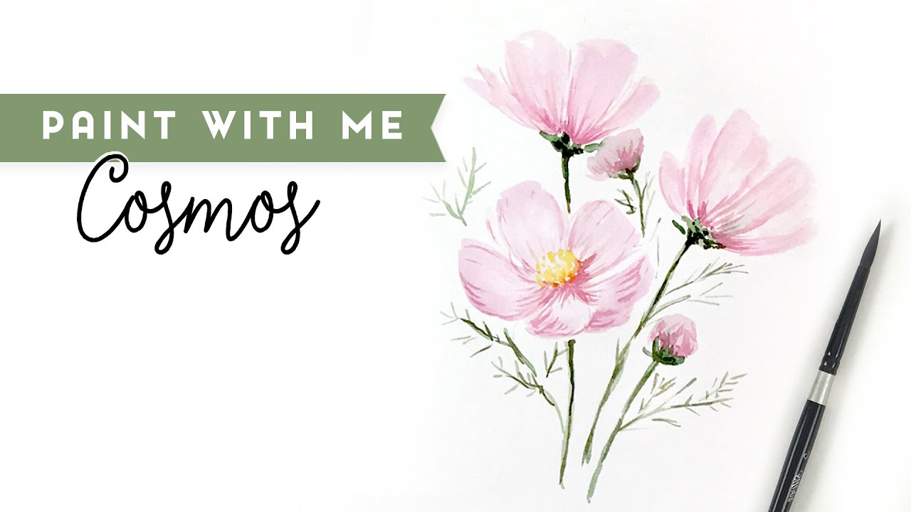 How to paint Watercolor Cosmos - Paint with Me