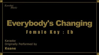 Keane - Everybody's Changing (Female Key : Eb) Karaoke | Kavekei Music