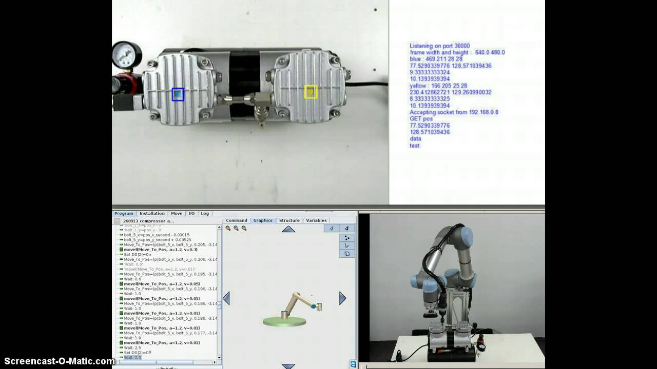 Universal-Robots vision guided system with normal web camera by Zacobria  mounting screws (Video 4)