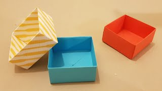 How to make n๐ glue Paper Box | Origami Square box folding crafts, tutorial_easy steps