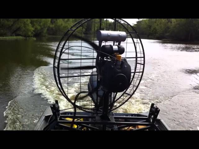 Fanboat Test Run 3/4 Throttle - 36hp Kohler with reduction