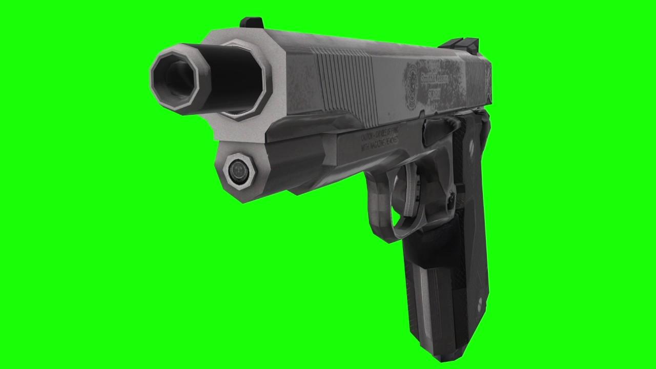 Real Gun green screen - gun loading - gun shot - gun sound effect   Chromo  key backgrounds