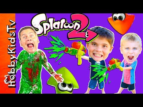 REAL LIFE PAINT BLASTED! SPLATOON Adventure + Roller Challenge, Video Gaming HobbyKids