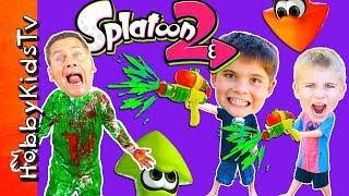 Splatoon Adventure + Real Life Splat Roller Challenge!  Video Game Fun with HobbyKidsTV