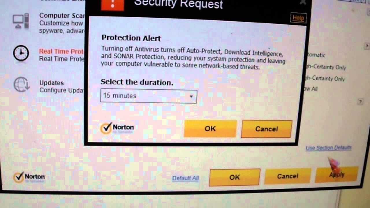 my symantec antivirus auto protect disabled dating