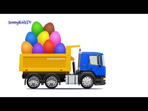 Thumbnail: Trucks for kids. Dump Truck. Surprise Eggs. Learn Fruits. Video for children.