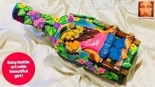 Bottle art with girl, bottle art, bottle decoration ideas