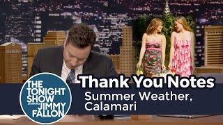 thank you notes summer weather calamari
