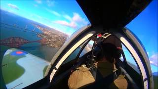 Forth Bridge 125th Anniversary   Spitfire Cockpit Footage   March 4th 2015