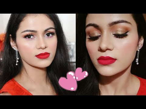 VALENTINE'S DAY Makeup Tutorial 2018 In HINDI | Red Lips Look