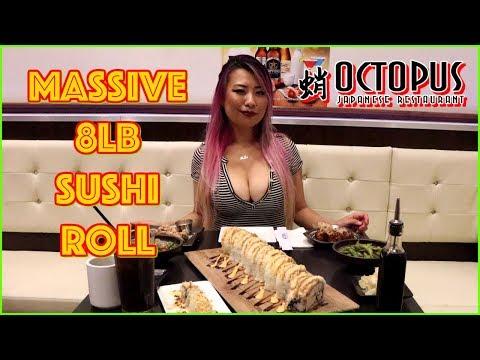 MASSIVE 8LB SUSHI ROLL EATING CHALLENGE @ Octopus Restaurant in Glendale, CA #RainaisCrazy