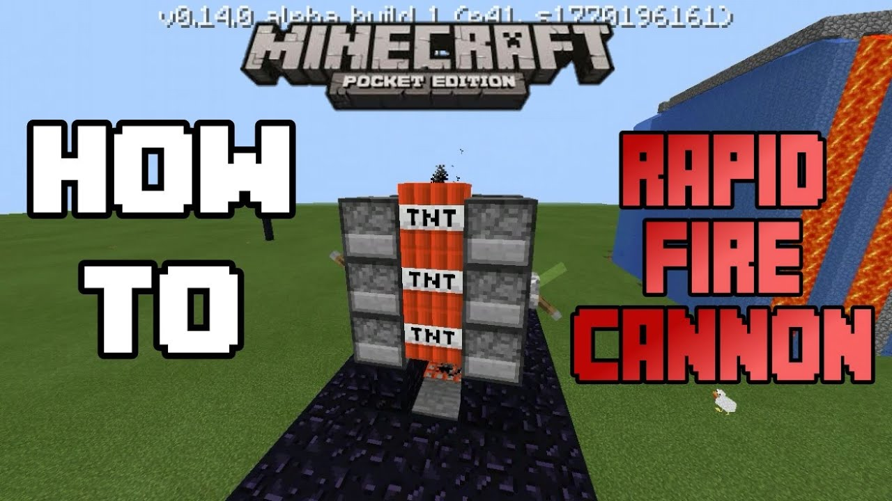 How To Make A Rapid Fire TNT Cannon (Machine Gun) In MCPE ...