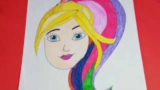 Barbie Çizimi ve Boyaması - Barbie Renkli Saçlar - Barbie Draw and Coloring Pages - Colorful Hair