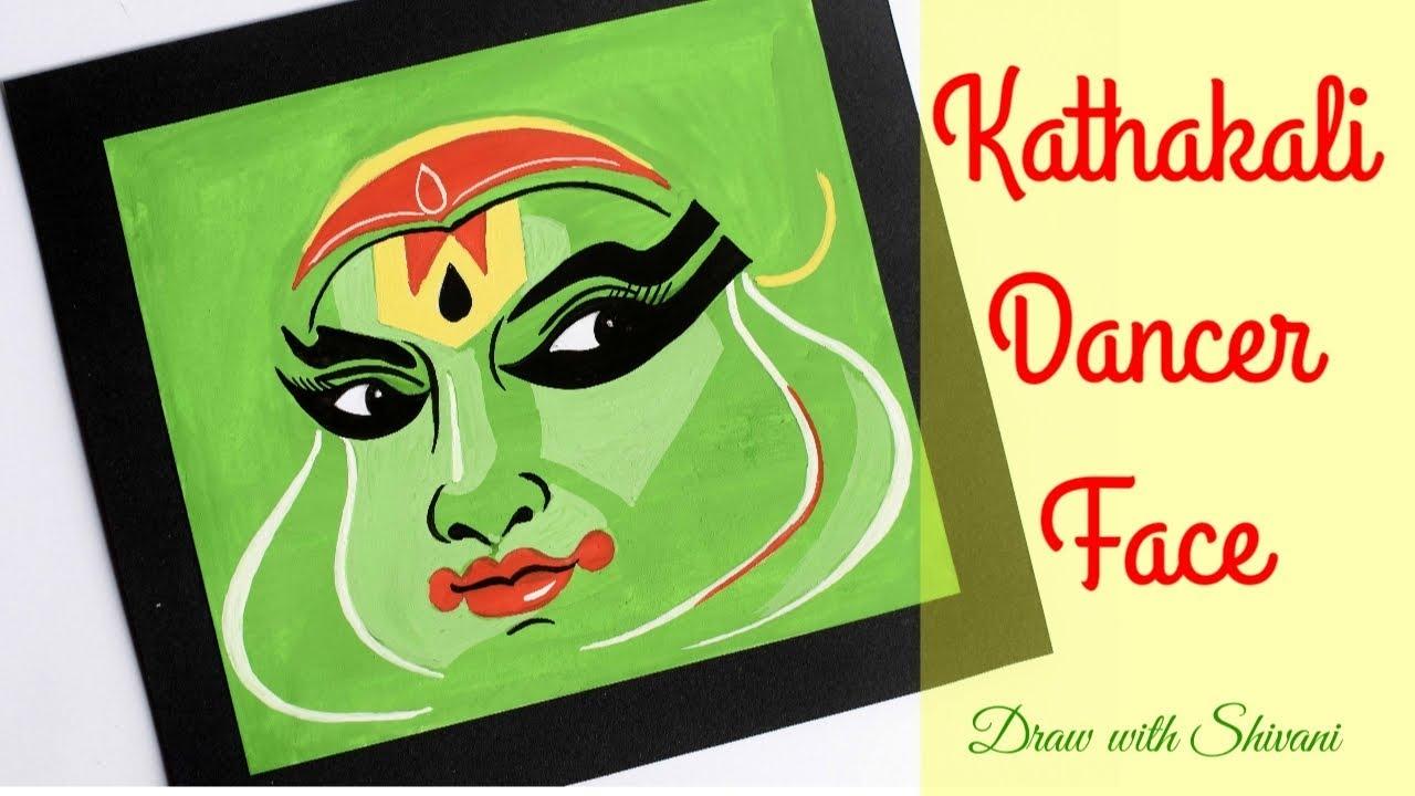 How To Make Kathakali Dancer Face Easy Portrait Drawing Youtube