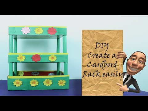 How to make a Rack Using Waste Cardboard | DIY kitchen Rack | 5 MINUTE CRAFTS VIDEOS