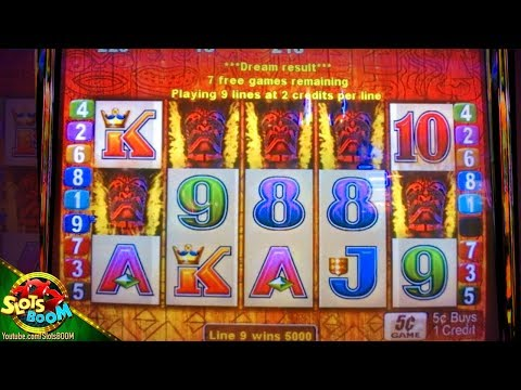 5 TIKI on LINE!!! Tiki Torch Bonuses BIG WINS on 5c Aristocrat Slots - 동영상