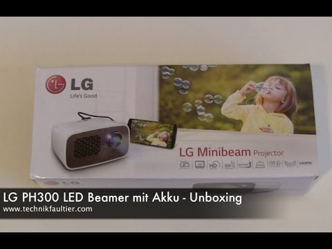 lg ph300 led beamer mit akku unboxing youtube. Black Bedroom Furniture Sets. Home Design Ideas