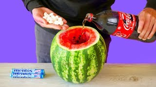 WATERMELON VS COCA COLA VS MENTOS! 7 AMAZING LIFE HACKS AND EXPERIMENTS! thumbnail