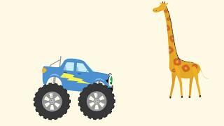 Монстр-трак БИБИКА - Жираф, Бегемот, Зебра, Лев - Развивающие мультики про машинки и животных