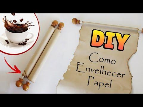 DIY: COMO FAZER PAPEL ENVELHECIDO (Pergaminhos e Rótulos Bottle Charms - Old paper Medieval Scroll)