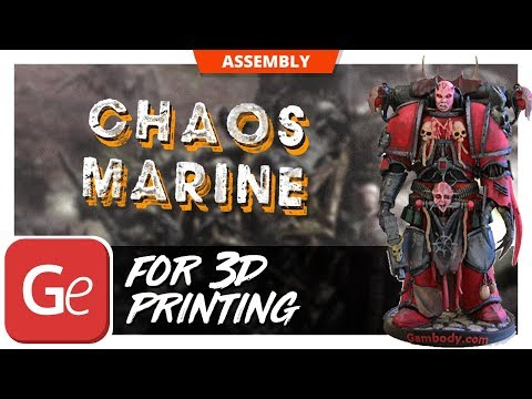 Printed Chaos Space Marine 3D Model - Assembly