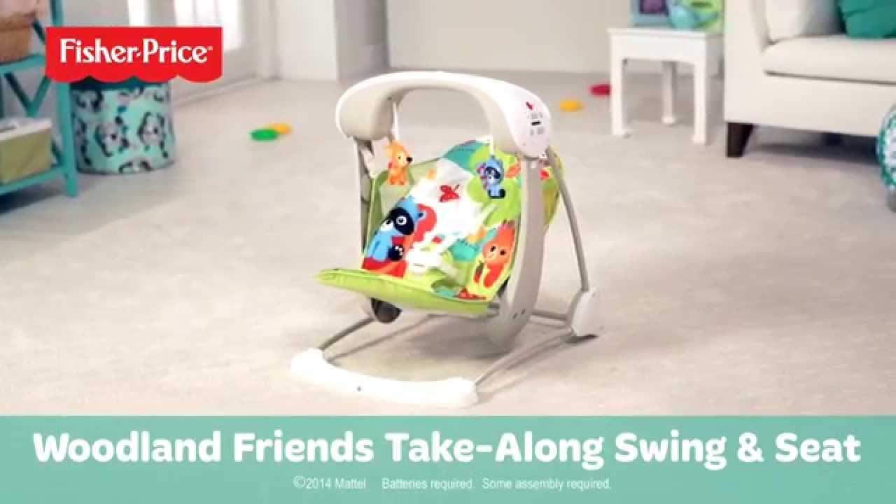 baby swing chair youtube wayfair rocking cushions woodland friends take along seat premium