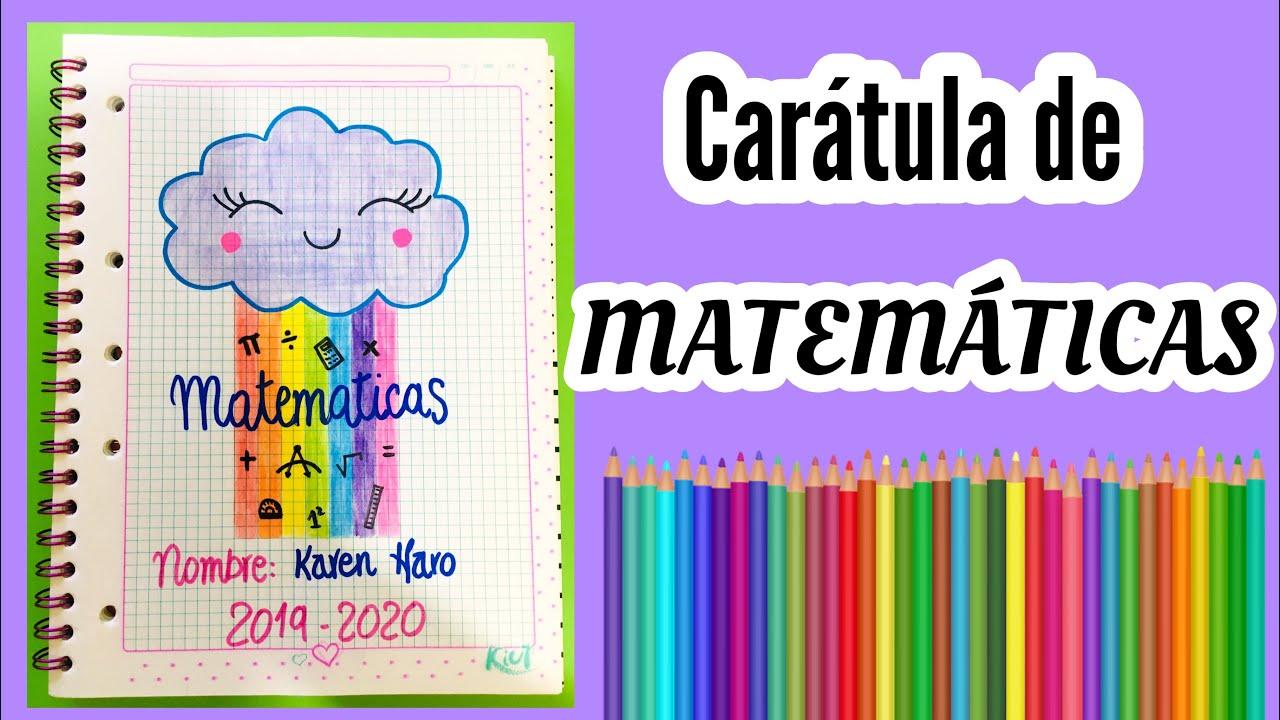 Carátula para MATEMÁTICAS   Portada fácil y bonita - YouTube