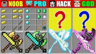 Minecraft NOOB vs PRO vs HACKER vs GOD BEST AXE SWORD CRAFTING MUTANT MONSTER in Minecraft Animation