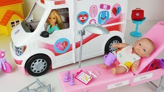 Baby doll and Barbie Ambulance Care Clinic Car toys Hospital play - 토이몽