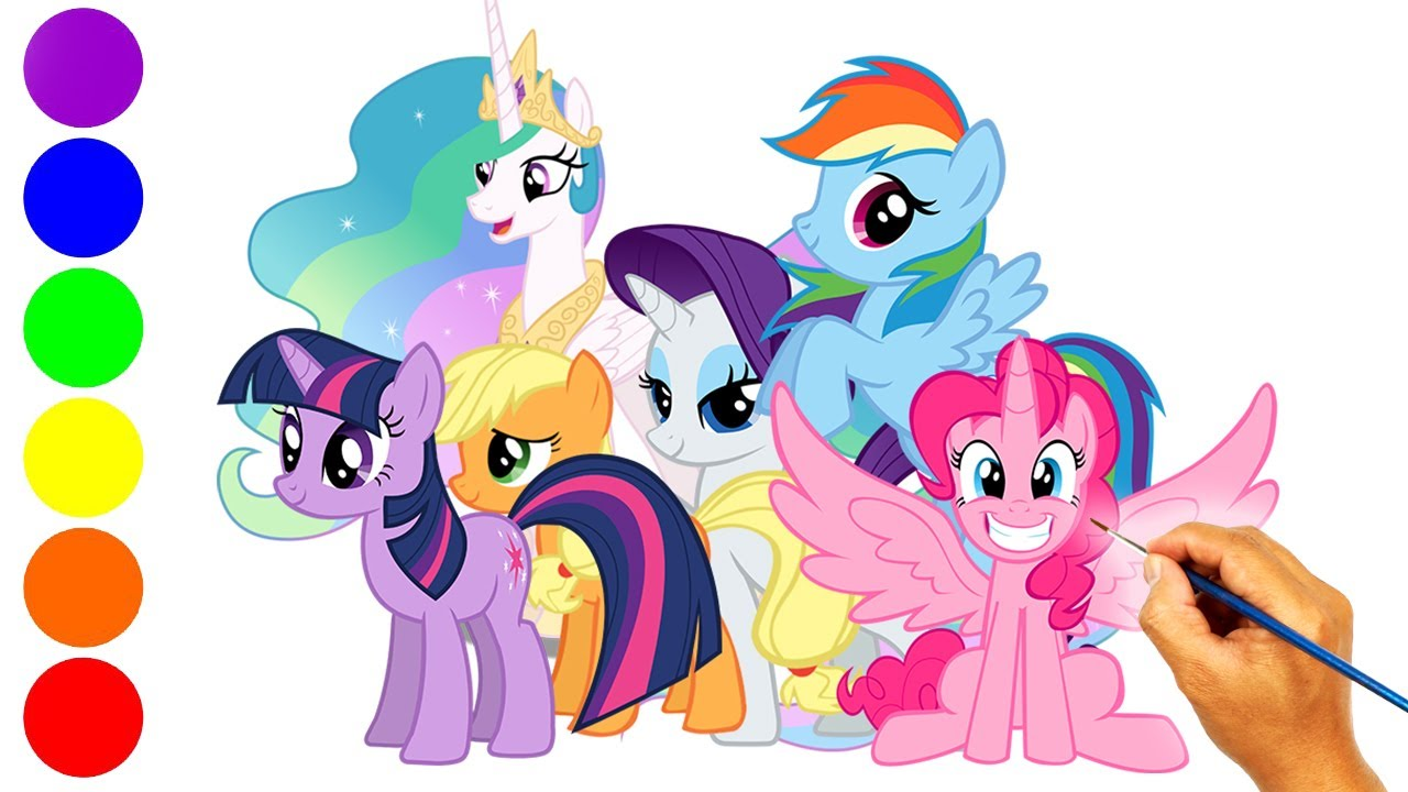 Menggambar Kuda Poni Dan Mewarnai Kuda Poni My Little Pony All Stars Youtube