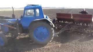 МТЗ 80 и сеялка сз-3 6. Сеем озимую пшеницу. MTZ 80 and drill SZ -3 6. Sowing of winter wheat.