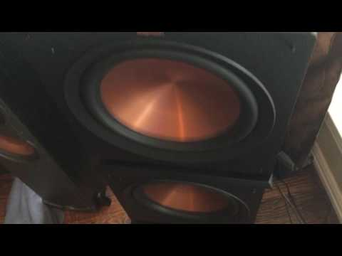 Klipsch SVS PB-16 Velodyne Subs Playing  in the Living Room BOB 4 Lit 38 Speakers total