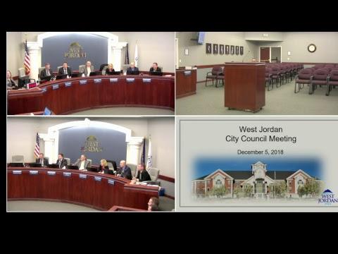 City of West Jordan, Utah - City Council - December 5, 2018