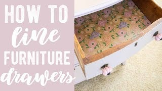 How to line furniture drawers with wrapping paper