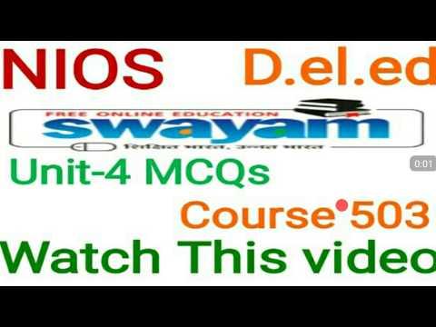 Mcqs unit-4 Course 501 D.el.ed online learning