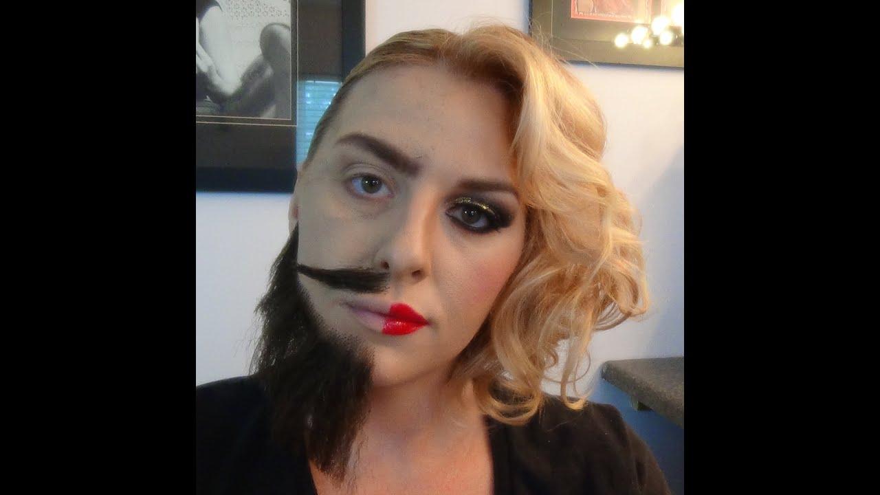 Half man/half woman makeup tutorial - YouTube - photo#5