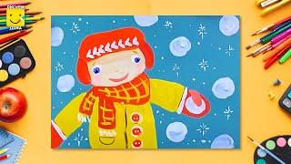 Зимние игры (снежки, Антошка) - урок рисования для детей от 4 лет, как нарисовать поэтапно