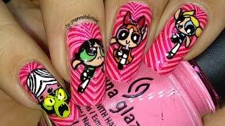 Power Puff Girls Nail Art Tutorial!! ♥️♥️♥️