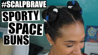SPORTY SPACE BUNS - GAME DAY HAIR #SCALPBRAVE   RisasRizos