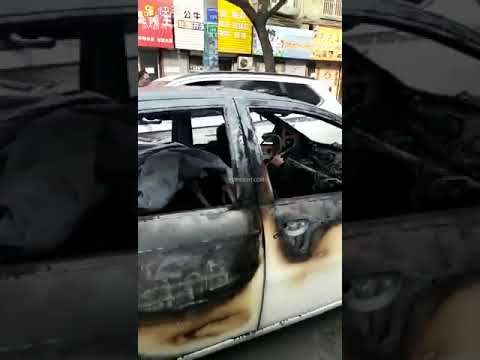 lady driving burned up car