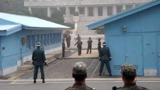 DMZ weird moment North Korean DPRK soldiers picture