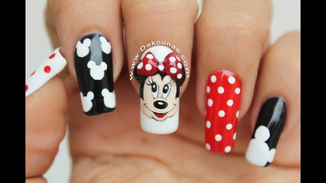 Diseño De Uñas Minnie Y Mickey Mouse Minnie And Mickey Mouse Nail