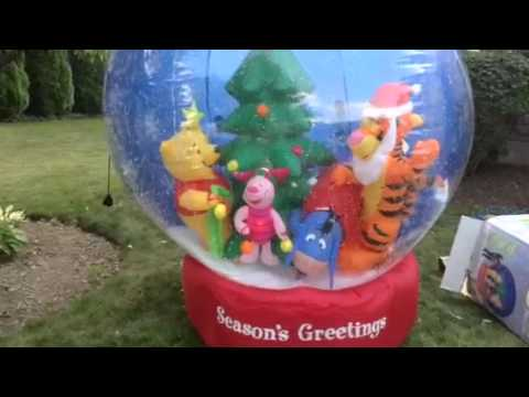 7 Gemmy Airn Inflatable Christmas Holiday Winnie The Pook Tigger Piglet Eeyore Snow Globe You